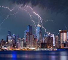Free New York Lightning Storm Stock Photos - 97537643