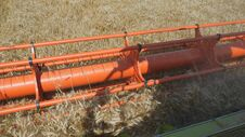 Free Harvesting Grain. Harvester `claas Lexion` Stock Photography - 97545152