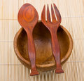Free Wooden Spoon, Fork And Basin On Bamboo Mat Royalty Free Stock Photos - 9764368