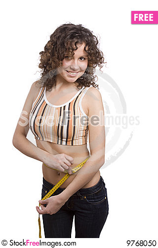 Free Smiling Fit Woman With Measure Tape. Stock Photo - 9768050