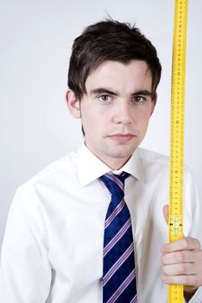Free Man With Ruler Stock Image - 9760031