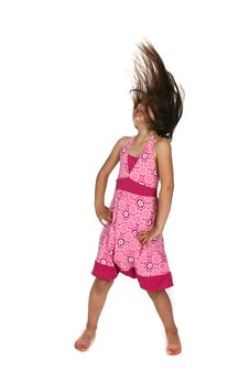 Free Girl In Pink Dress Tossing Her Hair Back Stock Image - 9760051