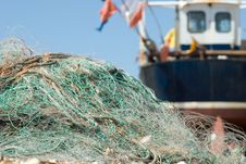 Free Fishing Nets On The Beach Stock Image - 9760181