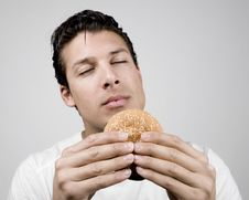 Free Smelling Burger Royalty Free Stock Photo - 9760655