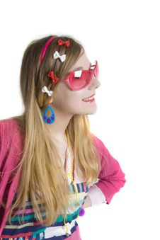 Free Teenager In Pink Suun Glases Royalty Free Stock Image - 9761576