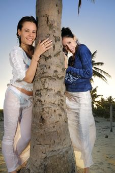 Free Two Girls On The Beach Stock Photos - 9763123