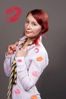 Woman With Kisses Isolated Stock Photos