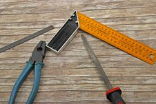 Free Technician S Tools On Old Wood Stock Image - 9764581