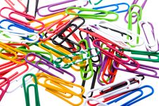 Free Color Paper Clips To Background. Isolated On White Stock Photo - 9765050