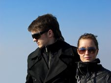 Young Couple In The Black Jacket Stock Images