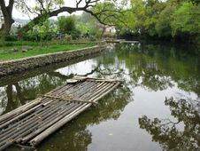 Free Chinese Bamboo Raft Stock Image - 9768161