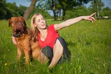 Free Young Girl And Her Dog Royalty Free Stock Image - 9769486