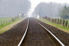 Free Railtrack With Hazy Crossing. Stock Image - 9769971