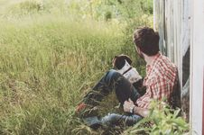 Free Man And Dog Countryside Stock Image - 97650521