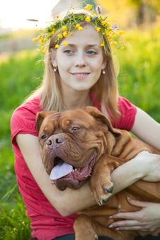 Young Girl And Her Dog Royalty Free Stock Photos