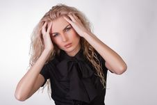 Free Young Businesswoman In Black Blouse Having A Heada Stock Image - 9775591