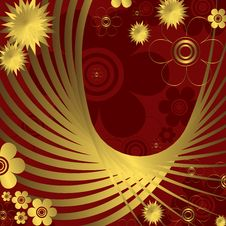 Floral Red And Golden  Background Royalty Free Stock Images