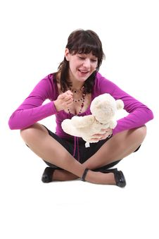 Free The Girl Talks To A Soft Toy Royalty Free Stock Photos - 9779068