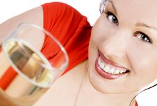 Free Happy Brunette With A Glass Of Champagne Stock Image - 9779191