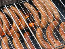 Free Sausages On The Grill Stock Photography - 9779512