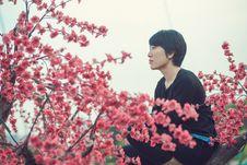 Free Girl Looking At Blossom  Stock Photos - 97735813