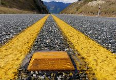 Free Yellow Road Marker. Royalty Free Stock Image - 97787766