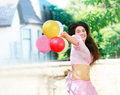 Free Happy Girl With Balloons Royalty Free Stock Images - 9783979