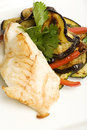 Free Cod With A Side Of Fried Eggplant And Peppers Royalty Free Stock Photography - 9784547