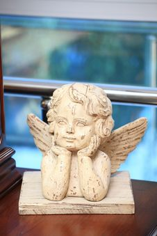 Sculpture Of The Wooden Angel Royalty Free Stock Images