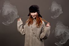 Free Young Pretty Woman In Hat Smiling Royalty Free Stock Photography - 9780167