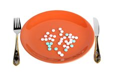 Free Plate With Pills Stock Photo - 9781140
