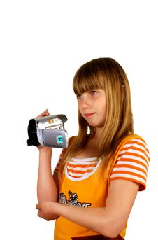 Free Girl And Video Camera Royalty Free Stock Photography - 9782067