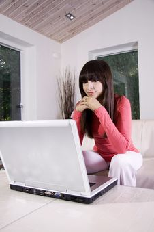 Free Laptop On The Sofa Royalty Free Stock Photography - 9782187