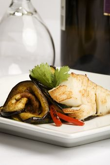 Baked Cod With Eggplant And Peppers Stock Photography