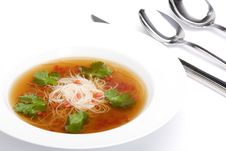 Free Bowl Of Noodle Soup With Beef Broth Stock Photos - 9784423