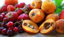 Free Strawberries, Cherries And Loquats. Stock Images - 9785264