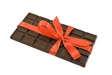 Free Black Chocolate With Red Ribbon And Bow Stock Photography - 9786812