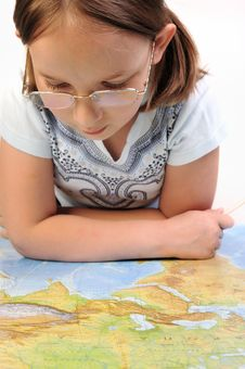 Free Girl Exploring The Map Of Eurasia Stock Image - 9788431