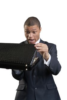 Free The Businessman Opens A Briefcase Royalty Free Stock Photo - 9789965