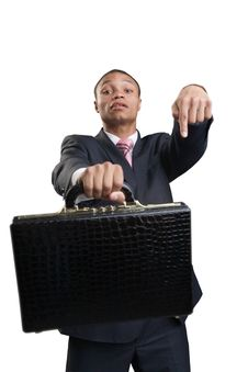 Free Businessman Offers Briefcase Stock Photo - 9789980
