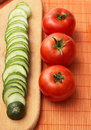 Free Red-ripe Tomatoes And Slices Of Cucumber Royalty Free Stock Photo - 9794265