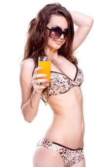 Free Beautiful Women In Swimsuit With A Glass Of Juice Royalty Free Stock Photos - 9791038