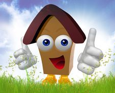 Free Happy 3d House Mascot Character Stock Image - 9791121