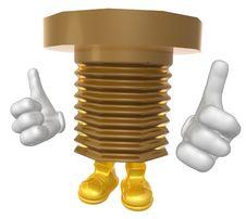 Mr Bronze Screw Mascot Character Stock Photography