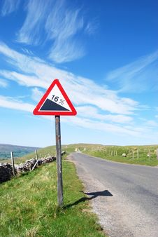 Free Warning Sign On Deserted Road Royalty Free Stock Images - 9791409