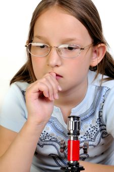 Free Girl Studying Something With Microscope Stock Images - 9791774