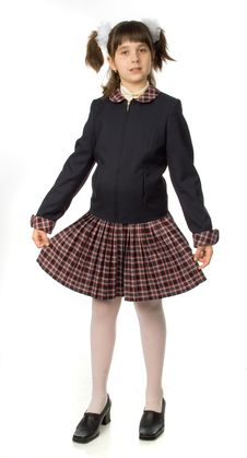 Free The Cherry Girl In A School Uniform Royalty Free Stock Photography - 9791947