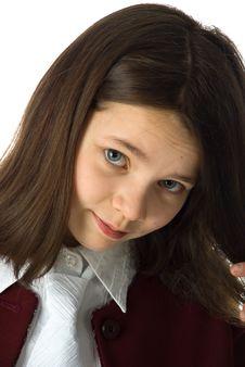 Free The Cherry Girl In A School Uniform Stock Photos - 9792023