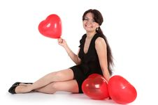 Free The Girl With Balloons Royalty Free Stock Image - 9792616