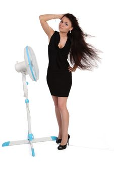 Girl And  Fan Royalty Free Stock Photos